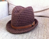 Indiana Jones Fedora with leather strap - Baby to Toddler Sizes - Brown Fedora Hat with leather strap - Baby Fedora - Fedora Hat