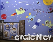 Space Monkey Wall Decals - Outer Space Monkey Wall Decals Stickers Theme with Aliens and Stars - PLOSM030