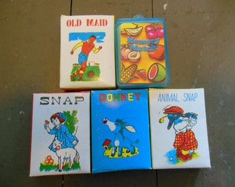 Childrens Card Games, Old Maid, Snap, Donkey, Match, Collection of 5