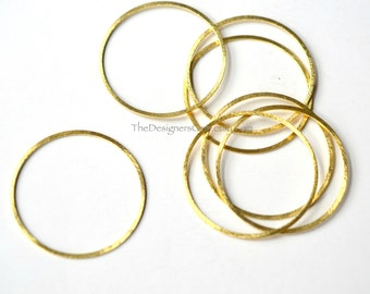 One Brushed Vermeil Gold Round Circle Hoop 30mm