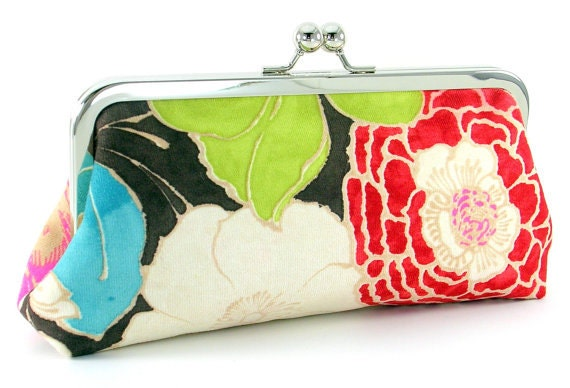 Items Similar To Red Flower Clutch Purse - Floral Evening Bag - Womenu0026#39;s Handmade Handbag ...