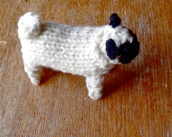 Medium size Pug dog knitted in wool
