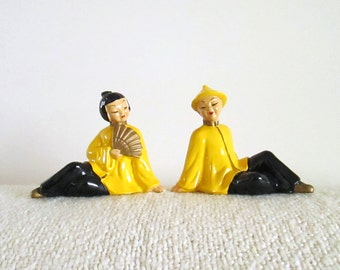 Set of Vintage Chinese Figurines, Couple in Yellow, Man Woman