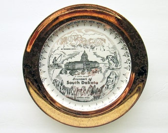 Vintage Gold & White South Dakota Souvenir Plate