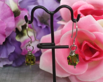 Swarovski Cube Earrings
