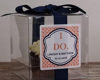8 - Wedding Favor Cupcake Boxes - Modern I Do Design - ANY COLOR-wedding favors, wedding cupcake box, personalized cupcake box