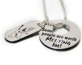 Personalized Frozen Olaf Necklace Snowman Worth Meltin For
