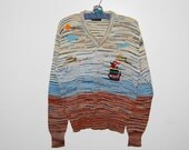 Vintage Sweater Hipster Nordic Ship In the Seas 1970's Unisex