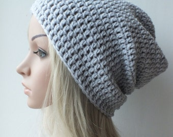 Mens slouchy gray beanie , womans/mens/unisex