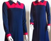 vintage 70s shift dress long sleeve Lilly Pulitzer blue red small