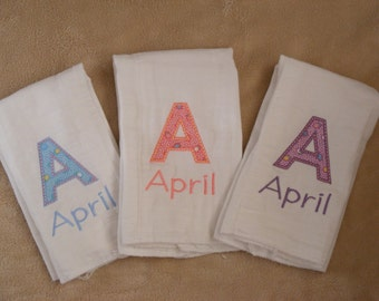 Personalized Initial Burp Cloth Set