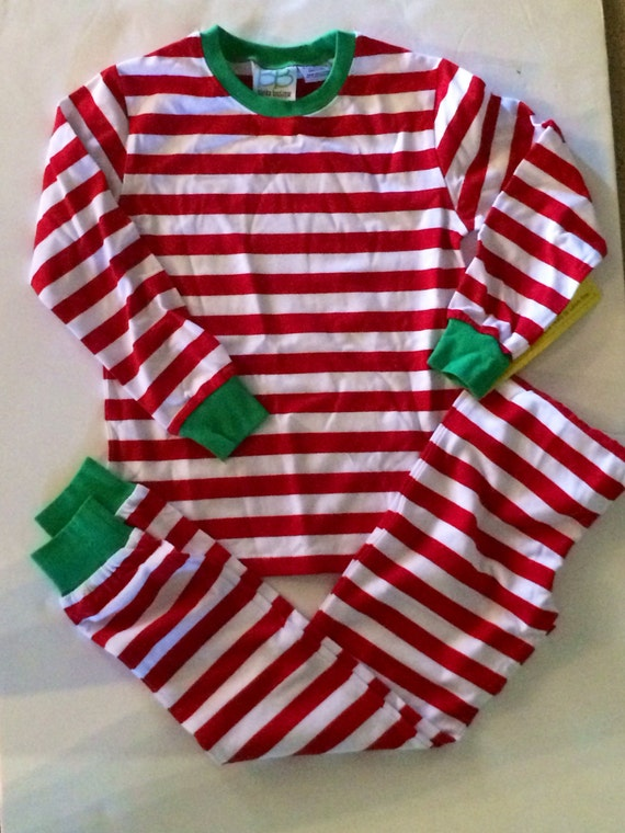 Christmas red and white striped pajamas pjs personalized with
