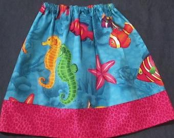 Girls Twirl skirt - Sea horses and Fish -  3/4 Toddler