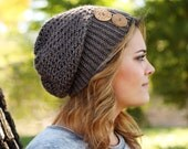 Beautiful Crocheted Slouchy Hat in color Mammoth Cave or Light Brown - Sizes Toddler, Child and Woman