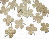 50 St. Patricks Day Glittered Gold Shamrock Four-Leaf Clover punch die cut cutout confetti scrapbooking embellishments - No645