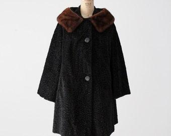 1960s faux persian lamb fur swing coat with mink collar