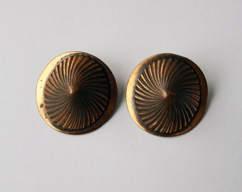 1940s copper earrings, vintage clip ons