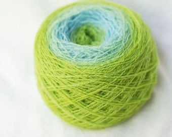 Merino Gradient Yarn, Recycled, Green-Yellow, Blue, 588 yards, Lace Weight, Hand Dyed, Hand Painted, lot #6
