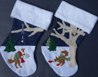 """Christmas Stockings--""""Fox Frosted Hijinks"""""""