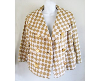 1950s-60s Atomic-MOD Gold and white Jacket from OGDEN MILLS for fall or spring M