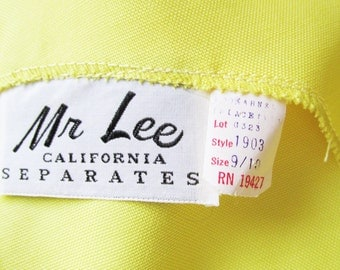 1960s MOD Madman Mr. Lee California Separates DEADSTOCK yellow button- down- the- back, blouse