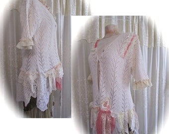 Doily Lacy Sweater, whimsical altered clothing, shabby n chic sweater, victorian cottage clothing, doilies and lace sweater, womens LARGE