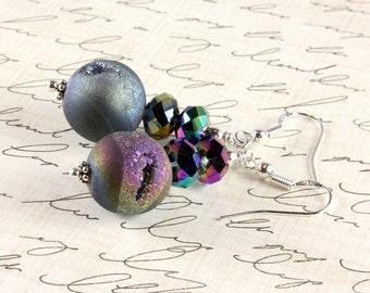 Quartz Titanium Drusy Earrings, Druzy Earrings, Rainbow Colors, Sterling Silver, Crystal, Gift for Mom