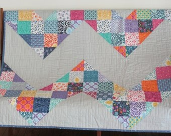 Modern Chevron Patchwork Quilt, Kate Spain Cuzco Fabric, bright color heirloom quilt