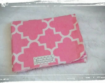 Pink & White Print Swaddle Blankets