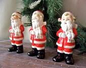 Vintage Santa Claus Trio Carolers Three Little Santa Figurines Christmas Holiday Decor Jolly Saint Nick Vintage 1950s