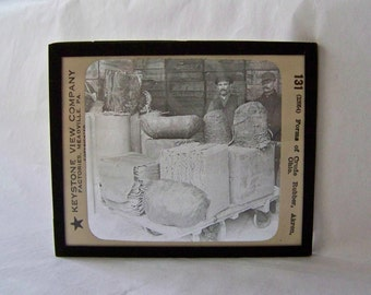 Antique Glass Negative Keystone Glass Slides Early Photography Factories Forms of Crude Rubber Homeschool Circa 1900