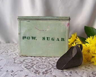 Vintage Sugar Tin Kitchen Tin Green Powdered Sugar Canister Collectible Tin Bakery Tin Country Kitchen Tin Box Farm Vintage 1930s