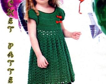 Crochet Pattern girl Dress for 6 years old in PDF.