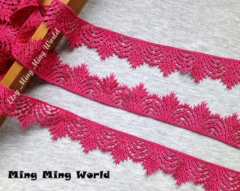 Hot Pink Lace Trim - 2 Yards Hot Pink Leaf Lace Trim (L298)