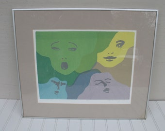 """Signed Limited Edition Print by Paula King - 4/10 Dated 1978 """"Impressions"""""""