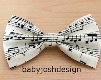 Musical Notes Hair Bow Clip Ivory ,Musical Notes Fabric Hair Bow For teens or women,girls hair bows,basic hair bows , Hair Bows