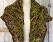 Chartreuse Green and Black Hand Dyed Merino Wool Shawl