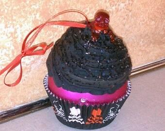 Pink Skully Cupcake Ornament