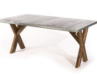Zinc Table Zinc Dining Table -  Base Trestle Zinc Metal Top Dining Table Custom Sizes Available