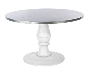 Zinc Table Zinc Dining Table - The Providence Round Zinc Top Dining Table - Distressed White Finish