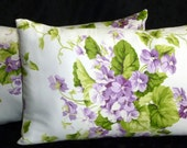 Lumbar Pillows - Set of Two 18x12  Lumbar Pillow Covers - Shades of Green and Purple on a White Background