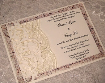Lace Wedding Invitation, Lace Wedding Invite, Wedding Invitation, Wedding Invite, Lace Invite, Lace Invitation, French Style Invitation