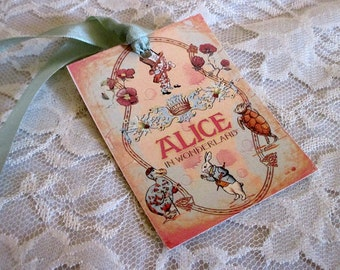 French Gift Tags, Alice in Wonderland Gift Tags, Gift Tag, Vintage Gift Tag, Alice in Wonderland, Mad Hatter Tea Party, Handmade Gift ECS