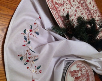 Embroidered Tea Towel Flour Sack Christmas Vine Quiltsy Handmade