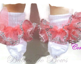 Diamond Ribbon Trimed Coral Ruffled Ribbon Socks-Pageant-Flower Girl-Wedding-Dance