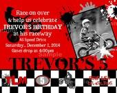 Motocross Invitation Photo Birthday Honda red, Yamaha blue, Kawasaki green, KTM orange, Suzuki yellow, Dirt Bike Motorcross ATV Racing