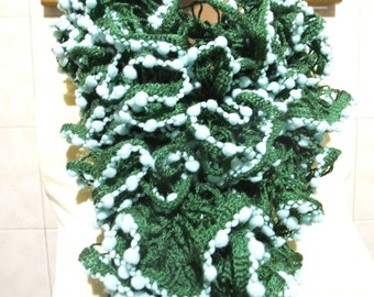 Green and White chunky  Mulberry Long Crochet Scarf...Crochet pattern