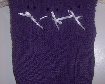 Kitty Cat Sweater Vest - Lavender hand knit Toddler size 4T