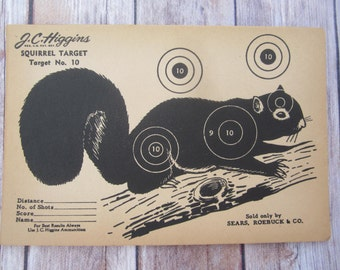 Vintage J.C. Higgins Squirrel Target No. 10 shooting Paper c. 1940s collectible wall art