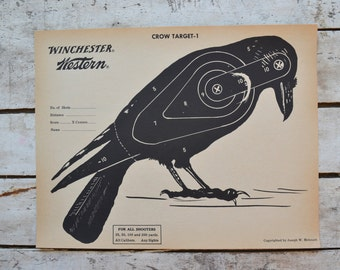 Vintage Winchester Western Crow Target shooting Paper c. 1940s collectible wall art